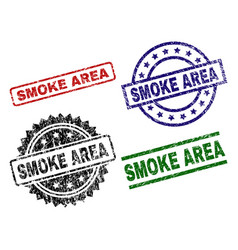scratched textured smoke area stamp seals vector image