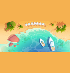 sea beach top view tropical ocean coastline vector image