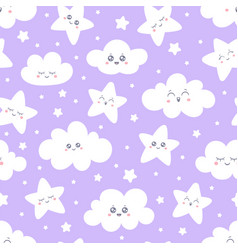 Seamless purple smiling stars and clouds pattern vector