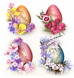 Set easter eggs decorated flowers vector