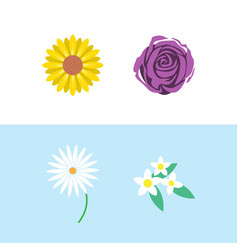 set flower icon design template isolated vector image