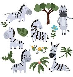 Set funny zebras vector