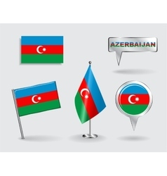 Set of azerbaijani pin icon and map pointer flags vector