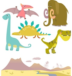 Set of cartoon dinosaurs vector