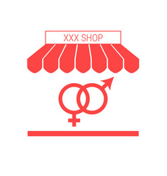 Sex shop single flat icon striped awning vector