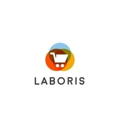 Shopping cart logo Shop sale discount store vector
