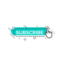 Subscribe button with finger and memphis design vector