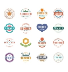 Summer Holidays Design Elements and Typography Set vector image