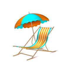 summer vacation realistic umbrella lounger vector image
