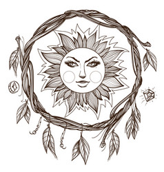 Sun vintage stylized outline drawing of the sun vector