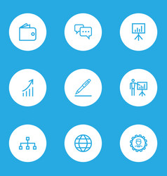 Trade outline icons set collection of growing vector