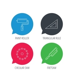Triangular rule paint roller and fretsaw icons vector image