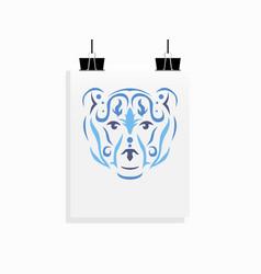 Tribal bear poster mockup vector