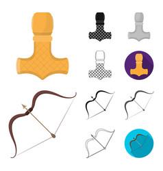 vikings and attributes cartoonblackflat vector image