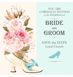 vintage wedding invitation vector image