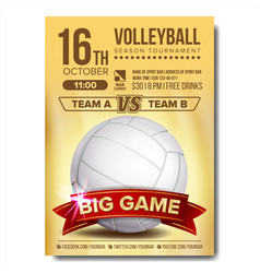 Volleyball poster volleyball ball sand vector