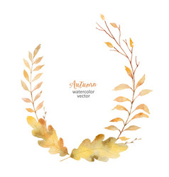 Watercolor wreath leaves and branches vector