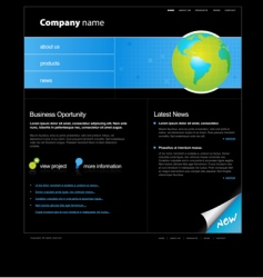 website template with globe vector image