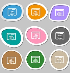 Window icon symbols Multicolored paper stickers vector