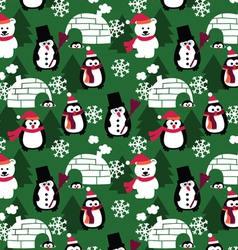 winter fun seamless background vector image