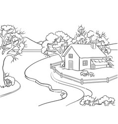 winter landscape coloring book vector image