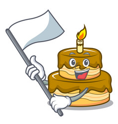 With flag birthday cake mascot cartoon vector