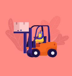 Worker lifting cargo on forklift machine in vector