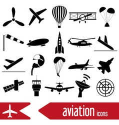 aviation big set of simple icons eps10 vector image