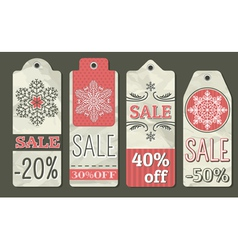 crumple christmas labels with sale offer vector image vector image