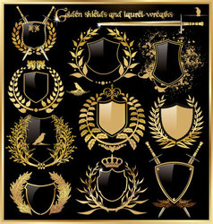 golden shields and laurel wreaths vector image vector image