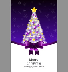 White Xmas tree on a violet background and a vector image vector image