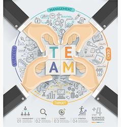 Business hands teamwork infographics template vector image vector image
