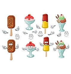 Cartoon tasty colorful ice cream characters vector image vector image