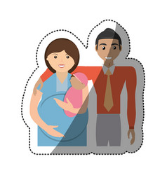 family pregnant unity people vector image