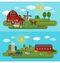 Flat Farm Panorama Set vector image