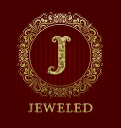 Golden logo template for jeweled boutique vector