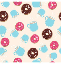 Hot chocolate and ring donuts seamless pattern vector image