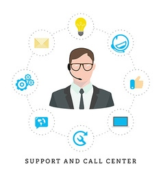Icons for call center or hotline call center male vector image vector image