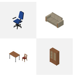 isometric design set of cabinet couch office and vector image