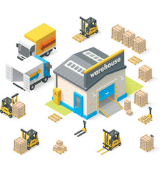 isometric warehouse vector image