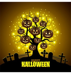 Magic tree with pumpkins Halloween background vector image