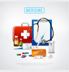 medical tools kit background vector image