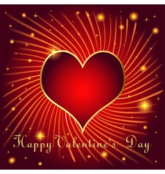 postcard on Valentines day with hearts of gold col vector image vector image