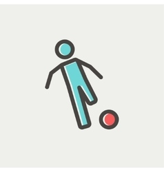 Soccer player to kick the ball thin line icon vector image
