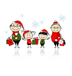Christmas shopping Happy family together vector image