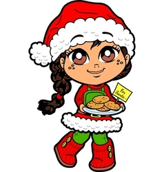 Girl With Cookies For Santa vector image