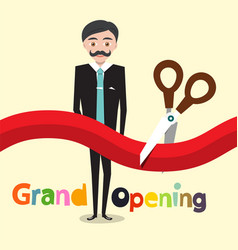 grand opening flat design cartoon with business vector image vector image