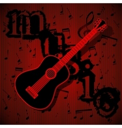 guitar on musical background vector image vector image
