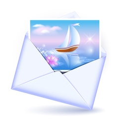 Open envelope and card vector image vector image
