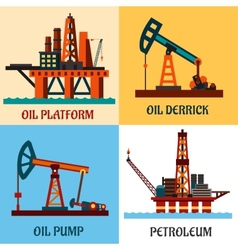 Petroleum production and oil derrick flat icons vector image